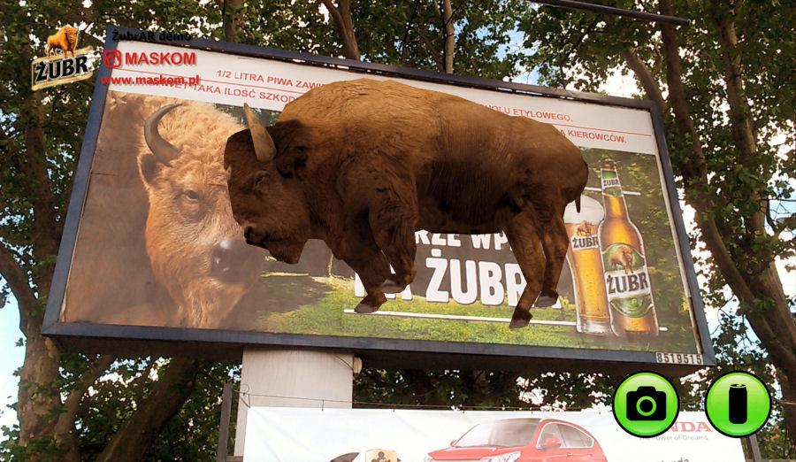 Żubr AR - żubr na billboardzie